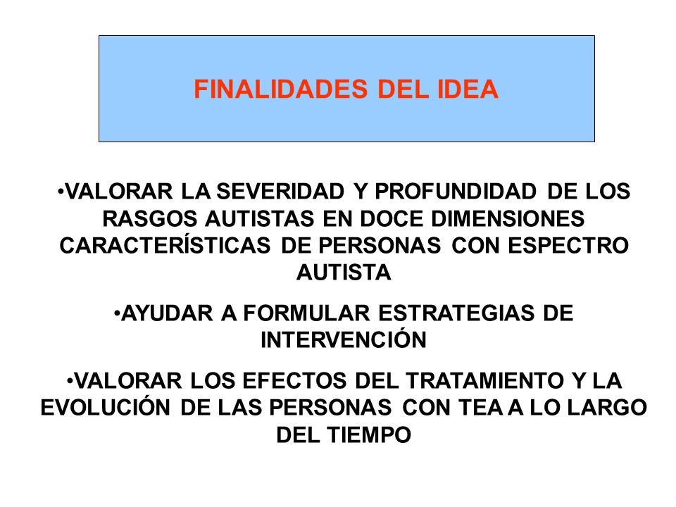 FINALIDADES DEL IDEA VALORAR LA SEVERIDAD Y PROFUNDIDAD DE LOS RASGOS AUTISTAS EN DOCE DIMENSIONES CARACTERÍSTICAS DE PERSONAS CON ESPECTRO AUTISTA AY