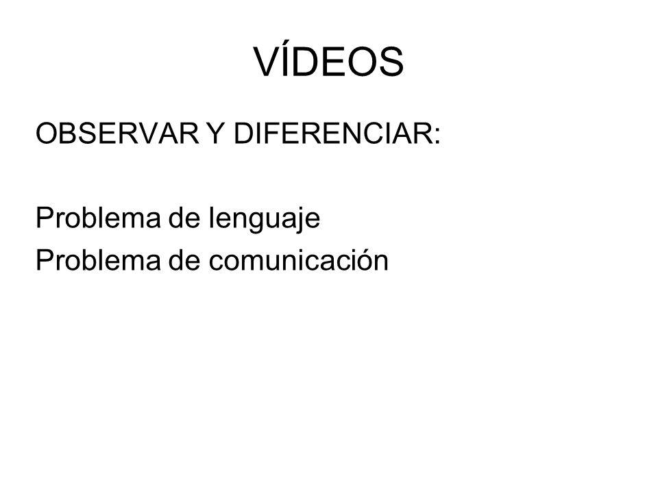 VÍDEOS OBSERVAR Y DIFERENCIAR: Problema de lenguaje Problema de comunicación