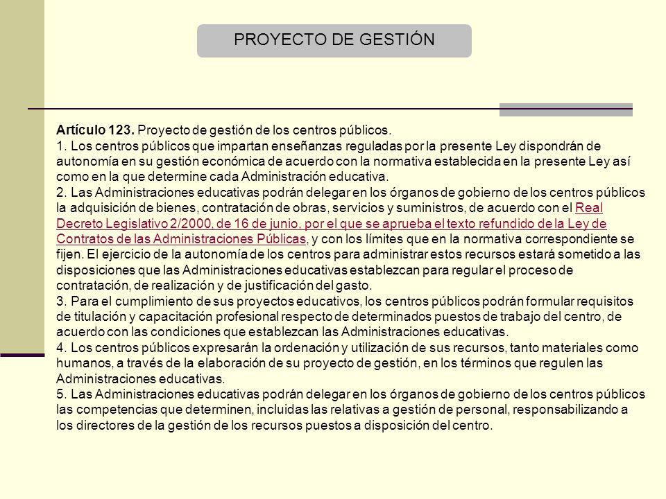 PROYECTO DE GESTIÓN Artículo 123.Proyecto de gestión de los centros públicos.