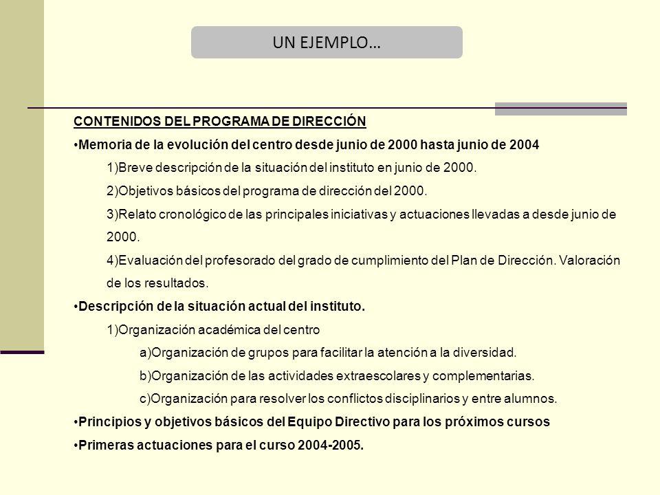 UN EJEMPLO… CONTENIDOS DEL PROGRAMA DE DIRECCIÓN Memoria de la evolución del centro desde junio de 2000 hasta junio de 2004 1)Breve descripción de la situación del instituto en junio de 2000.