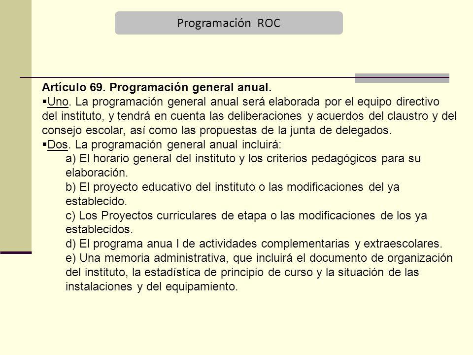Programación ROC Artículo 69.Programación general anual.