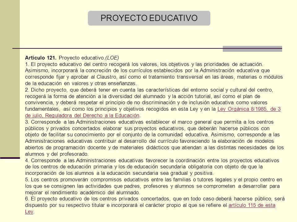 Artículo 121.Proyecto educativo.(LOE) 1.