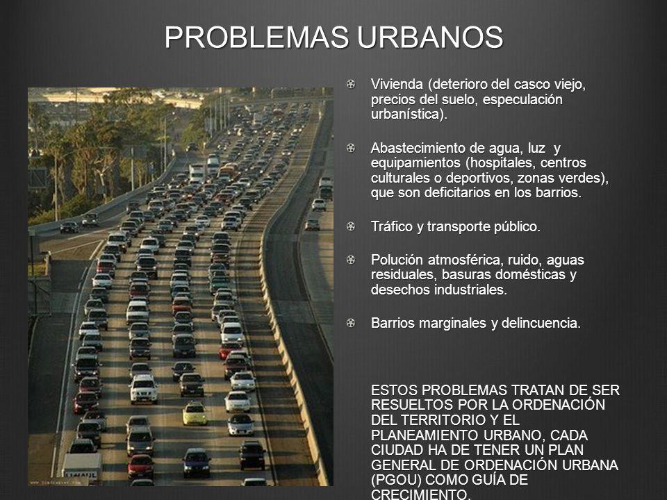 PROBLEMAS URBANOS Vivienda (deterioro del casco viejo, precios del suelo, especulación urbanística). Abastecimiento de agua, luz y equipamientos (hosp