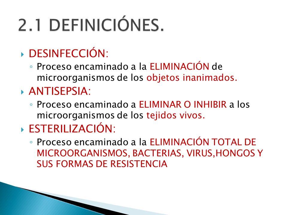 DESINFECCIÓN: Proceso encaminado a la ELIMINACIÓN de microorganismos de los objetos inanimados. ANTISEPSIA: Proceso encaminado a ELIMINAR O INHIBIR a