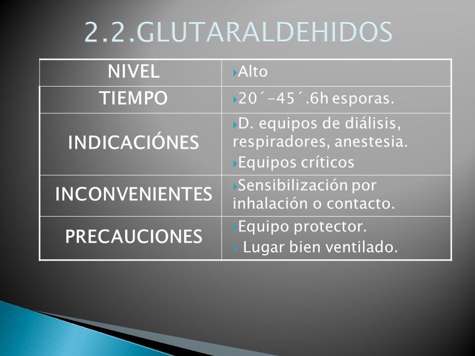 2.2.GLUTARALDEHIDOS NIVEL Alto TIEMPO 20´-45´.6h esporas. INDICACIÓNES D. equipos de diálisis, respiradores, anestesia. Equipos críticos INCONVENIENTE