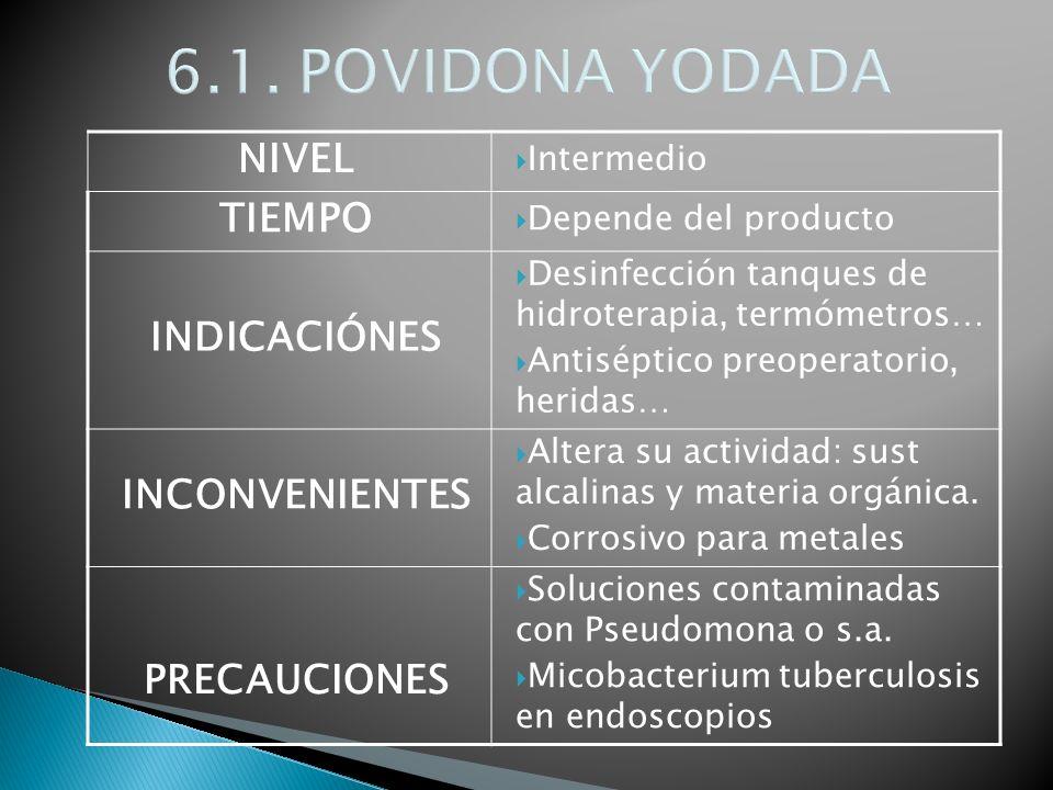 NIVEL Intermedio TIEMPO Depende del producto INDICACIÓNES Desinfección tanques de hidroterapia, termómetros… Antiséptico preoperatorio, heridas… INCON