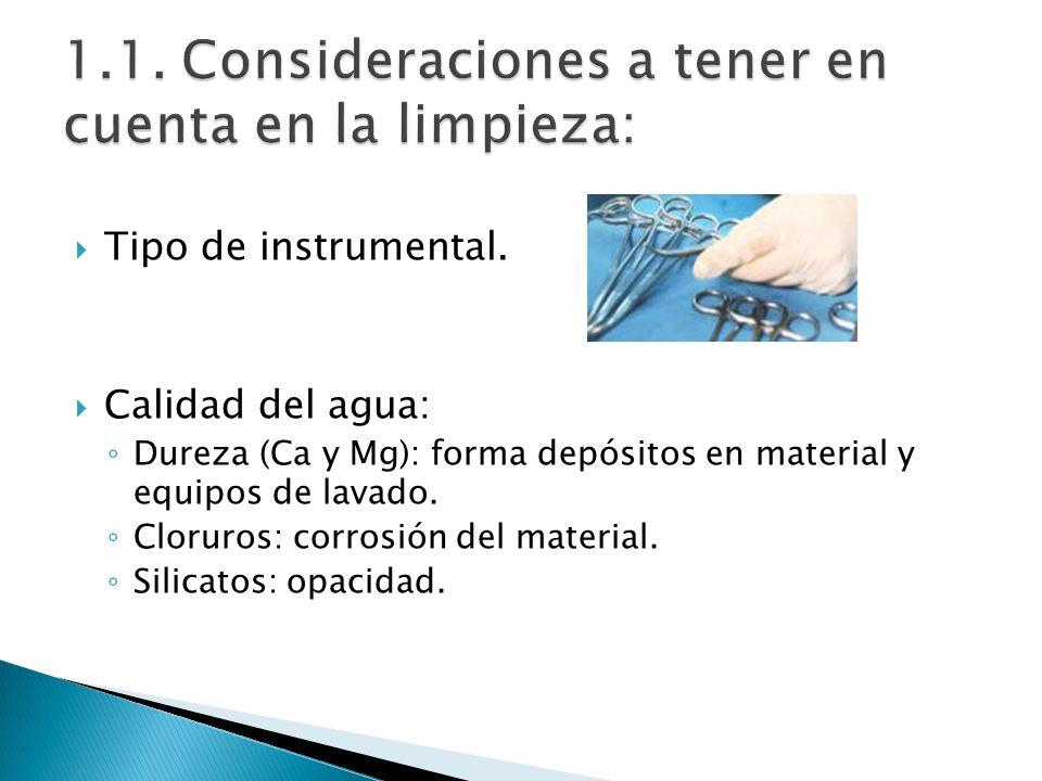 Tipo de instrumental. Calidad del agua: Dureza (Ca y Mg): forma depósitos en material y equipos de lavado. Cloruros: corrosión del material. Silicatos