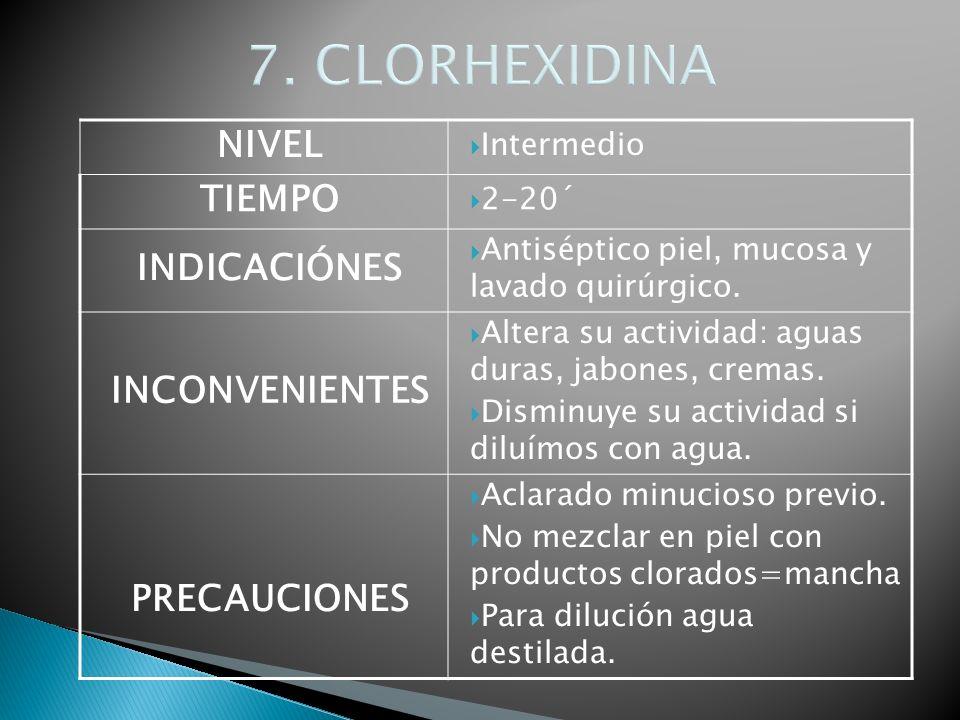 7. CLORHEXIDINA NIVEL Intermedio TIEMPO 2-20´ INDICACIÓNES Antiséptico piel, mucosa y lavado quirúrgico. INCONVENIENTES Altera su actividad: aguas dur