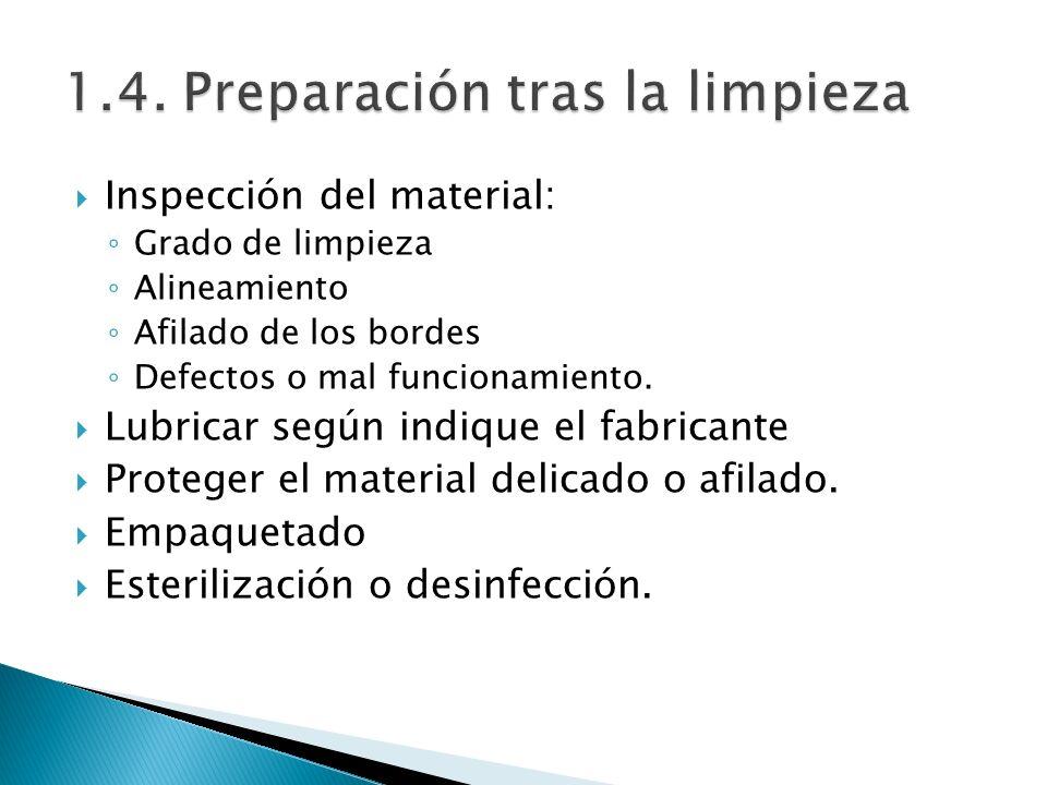 Inspección del material: Grado de limpieza Alineamiento Afilado de los bordes Defectos o mal funcionamiento. Lubricar según indique el fabricante Prot