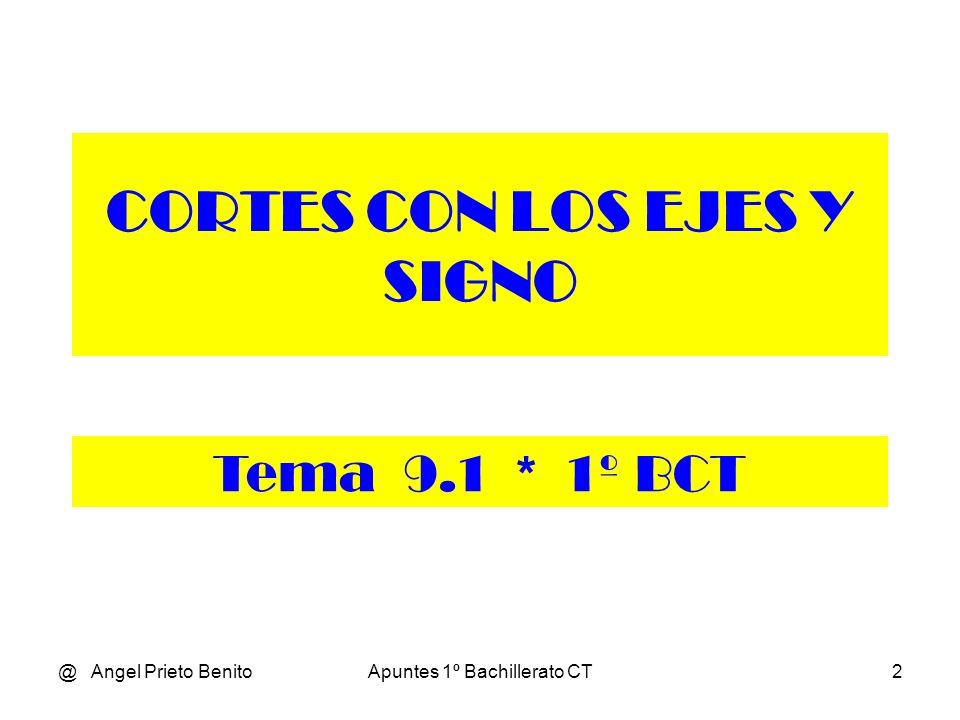 @ Angel Prieto BenitoApuntes 1º Bachillerato CT2 CORTES CON LOS EJES Y SIGNO Tema 9.1 * 1º BCT