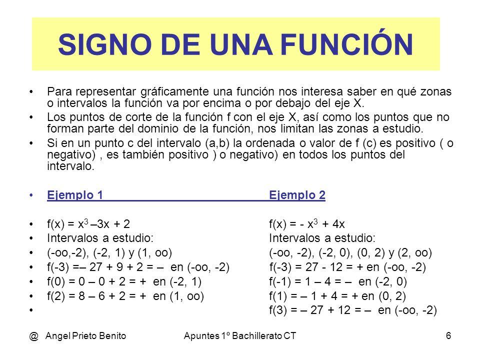 @ Angel Prieto BenitoApuntes 1º Bachillerato CT6 Para representar gráficamente una función nos interesa saber en qué zonas o intervalos la función va por encima o por debajo del eje X.