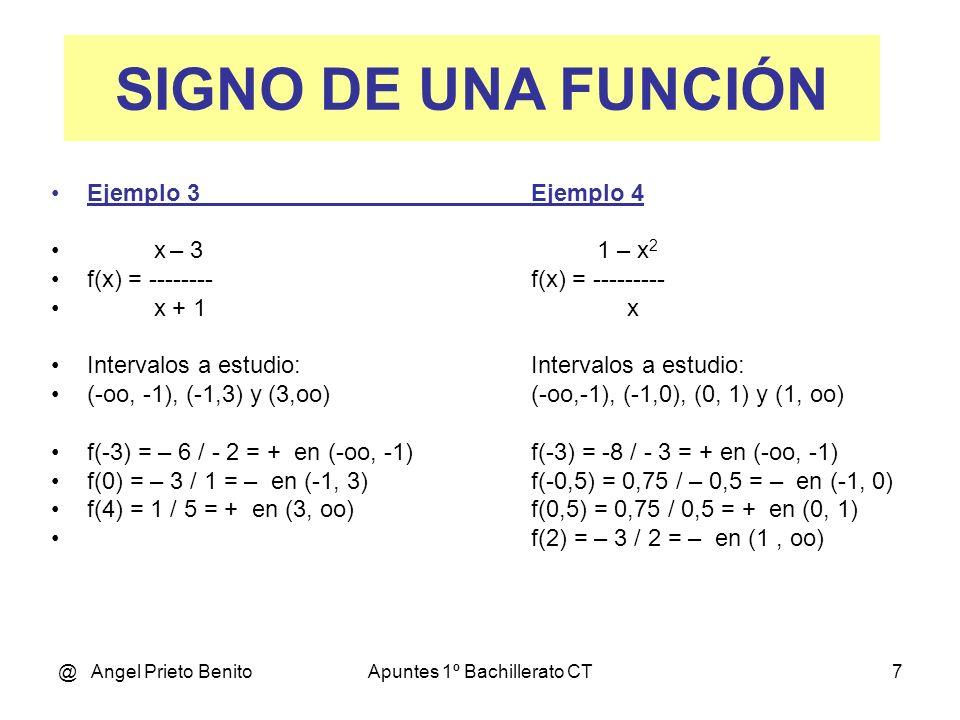 @ Angel Prieto BenitoApuntes 1º Bachillerato CT7 Ejemplo 3Ejemplo 4 x – 3 1 – x 2 f(x) = --------f(x) = --------- x + 1x Intervalos a estudio:Intervalos a estudio: (-oo, -1), (-1,3) y (3,oo)(-oo,-1), (-1,0), (0, 1) y (1, oo) f(-3) = – 6 / - 2 = + en (-oo, -1)f(-3) = -8 / - 3 = + en (-oo, -1) f(0) = – 3 / 1 = – en (-1, 3)f(-0,5) = 0,75 / – 0,5 = – en (-1, 0) f(4) = 1 / 5 = + en (3, oo)f(0,5) = 0,75 / 0,5 = + en (0, 1) f(2) = – 3 / 2 = – en (1, oo) SIGNO DE UNA FUNCIÓN