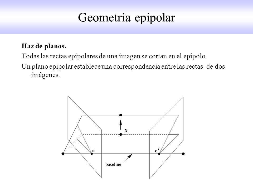Haz de planos. Todas las rectas epipolares de una imagen se cortan en el epipolo. Un plano epipolar establece una correspondencia entre las rectas de