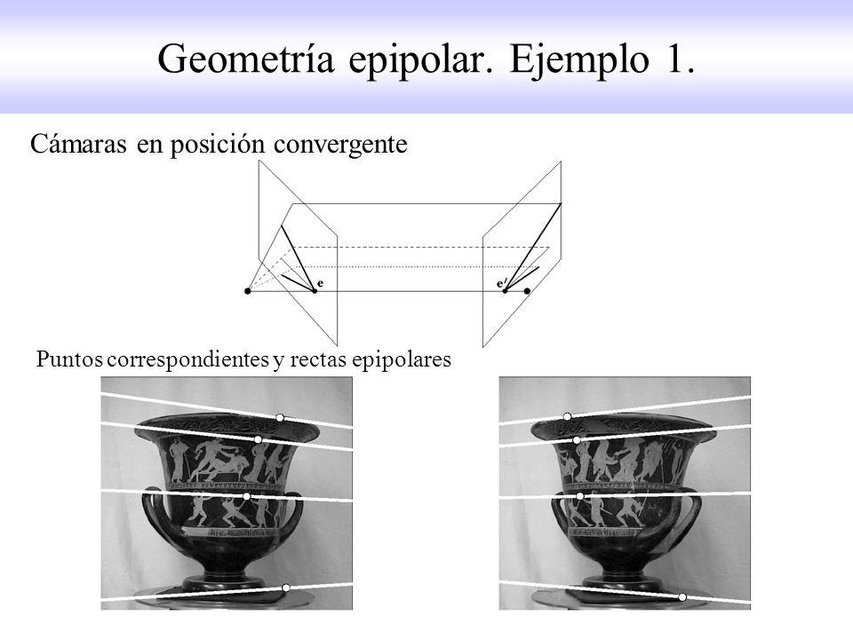 Geometría epipolar. Ejemplo 1. Cámaras en posición convergente Puntos correspondientes y rectas epipolares