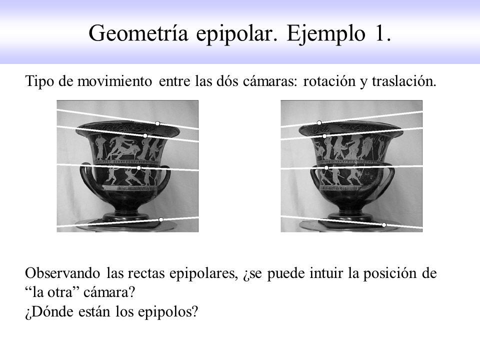 Geometría epipolar. Ejemplo 1. Tipo de movimiento entre las dós cámaras: rotación y traslación. Observando las rectas epipolares, ¿se puede intuir la