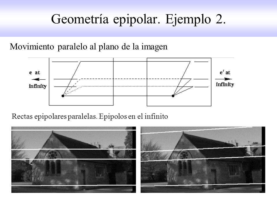 Geometría epipolar. Ejemplo 2. Movimiento paralelo al plano de la imagen Rectas epipolares paralelas. Epipolos en el infinito