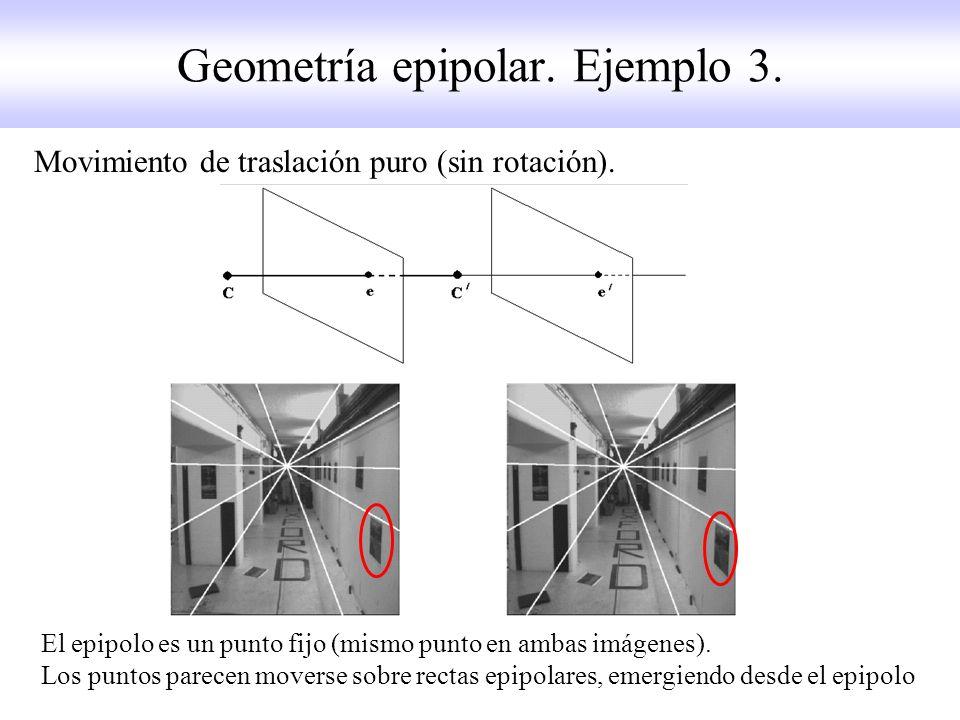 Geometría epipolar. Ejemplo 3. Movimiento de traslación puro (sin rotación). El epipolo es un punto fijo (mismo punto en ambas imágenes). Los puntos p