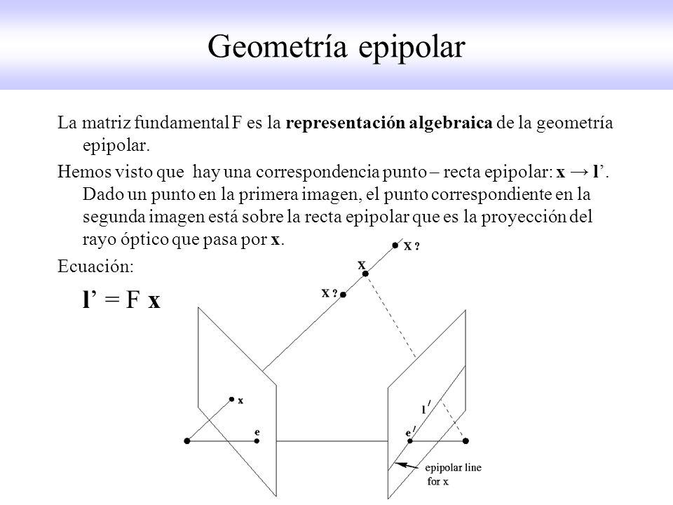 Geometría epipolar La matriz fundamental F es la representación algebraica de la geometría epipolar. Hemos visto que hay una correspondencia punto – r