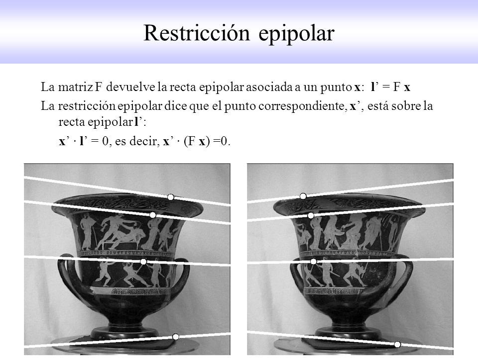 Restricción epipolar La matriz F devuelve la recta epipolar asociada a un punto x: l = F x La restricción epipolar dice que el punto correspondiente,