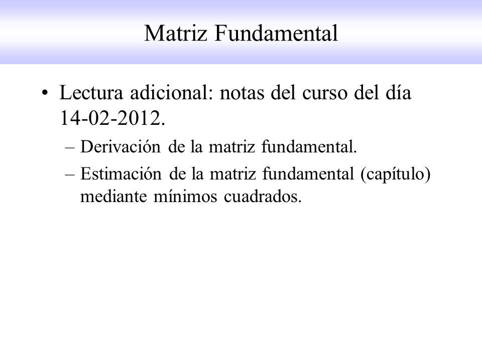 Matriz Fundamental Lectura adicional: notas del curso del día 14-02-2012. –Derivación de la matriz fundamental. –Estimación de la matriz fundamental (