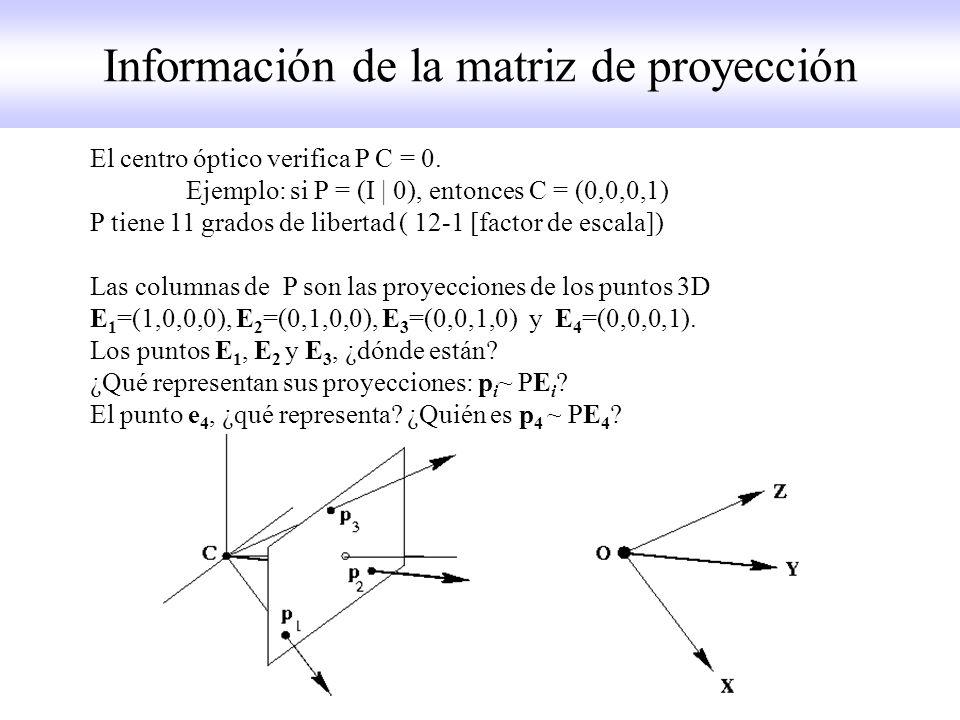 Información de la matriz de proyección El centro óptico verifica P C = 0. Ejemplo: si P = (I | 0), entonces C = (0,0,0,1) P tiene 11 grados de liberta