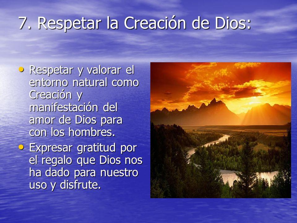 7. Respetar la Creación de Dios: Respetar y valorar el entorno natural como Creación y manifestación del amor de Dios para con los hombres. Respetar y