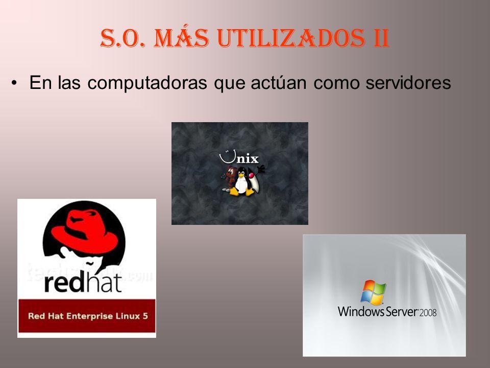 En las computadoras que actúan como servidores S.O. más utilizados II