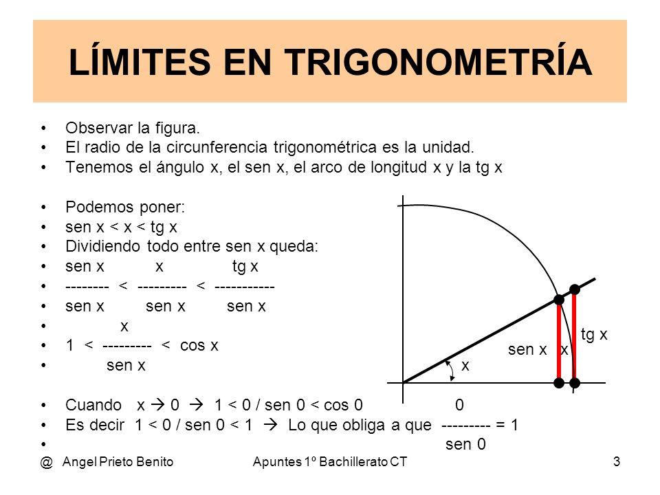 @ Angel Prieto BenitoApuntes 1º Bachillerato CT3 Observar la figura. El radio de la circunferencia trigonométrica es la unidad. Tenemos el ángulo x, e