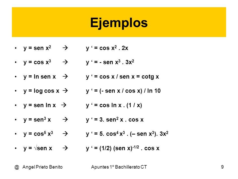 @ Angel Prieto BenitoApuntes 1º Bachillerato CT9 Ejemplos y = sen x 2 y = cos x 2. 2x y = cos x 3 y = - sen x 3. 3x 2 y = ln sen x y = cos x / sen x =