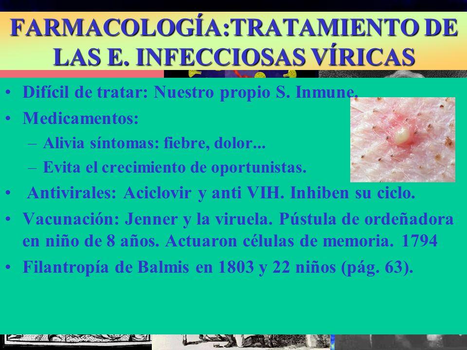 Difícil de tratar: Nuestro propio S. Inmune. Medicamentos: –Alivia síntomas: fiebre, dolor... –Evita el crecimiento de oportunistas. Antivirales: Acic