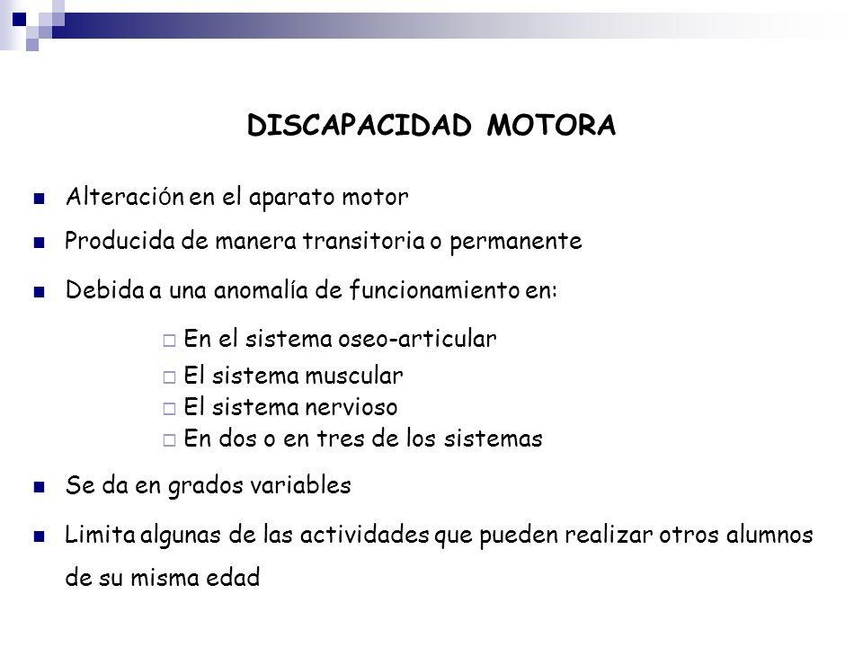 DISCAPACIDAD MOTORA Alteraci ó n en el aparato motor Producida de manera transitoria o permanente Debida a una anomal í a de funcionamiento en: En el