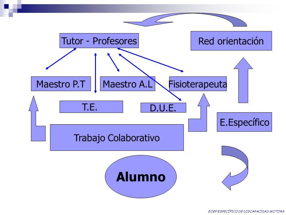 Tutor - Profesores Red orientación Maestro P.TMaestro A.LFisioterapeuta T.E. E.Específico D.U.E. Trabajo Colaborativo Alumno EOEP ESPECÍFICO DE DISCAP
