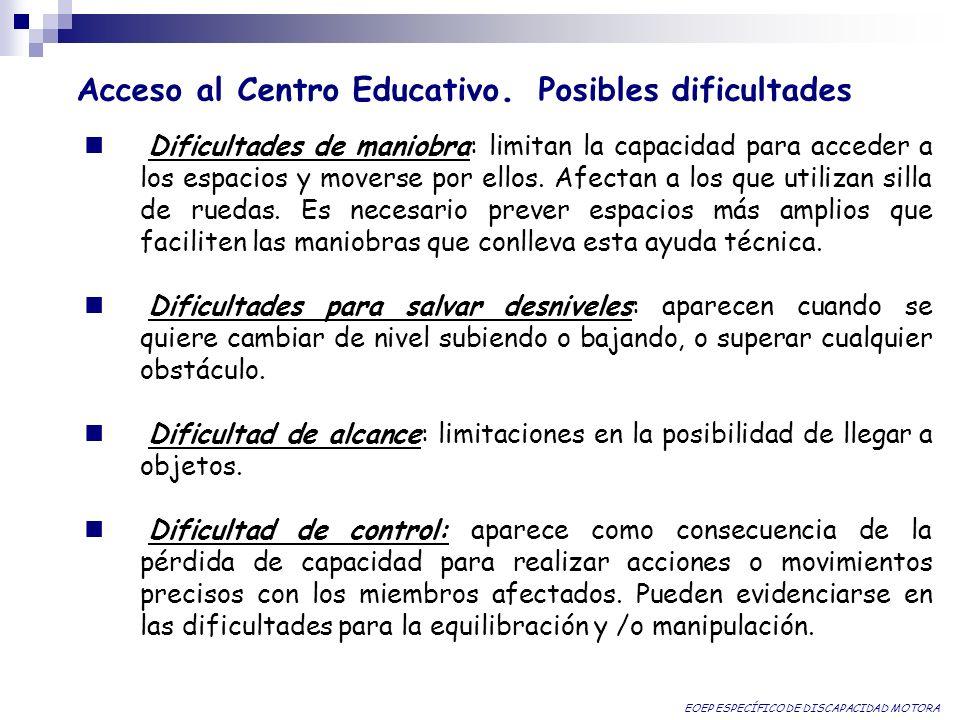 Acceso al Centro Educativo. Posibles dificultades Dificultades de maniobra: limitan la capacidad para acceder a los espacios y moverse por ellos. Afec