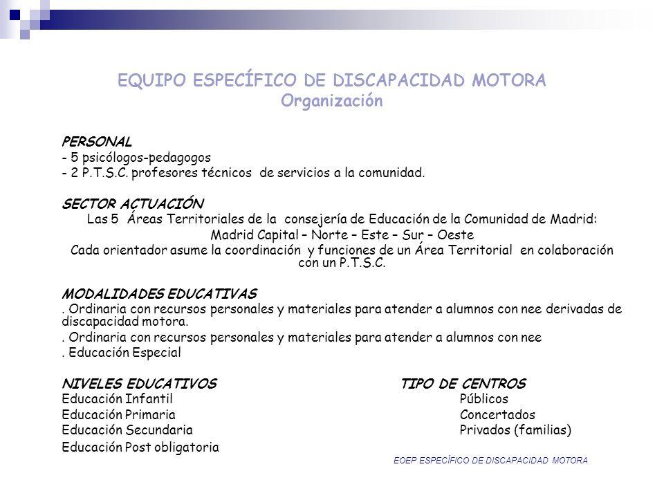 EQUIPO ESPECÍFICO DE DISCAPACIDAD MOTORA Organización PERSONAL - 5 psicólogos-pedagogos - 2 P.T.S.C. profesores técnicos de servicios a la comunidad.