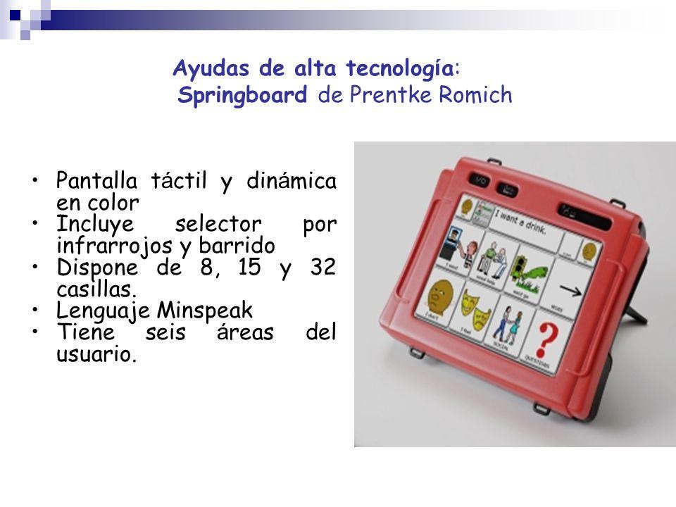 Ayudas de alta tecnolog í a: Springboard de Prentke Romich Pantalla t á ctil y din á mica en color Incluye selector por infrarrojos y barrido Dispone