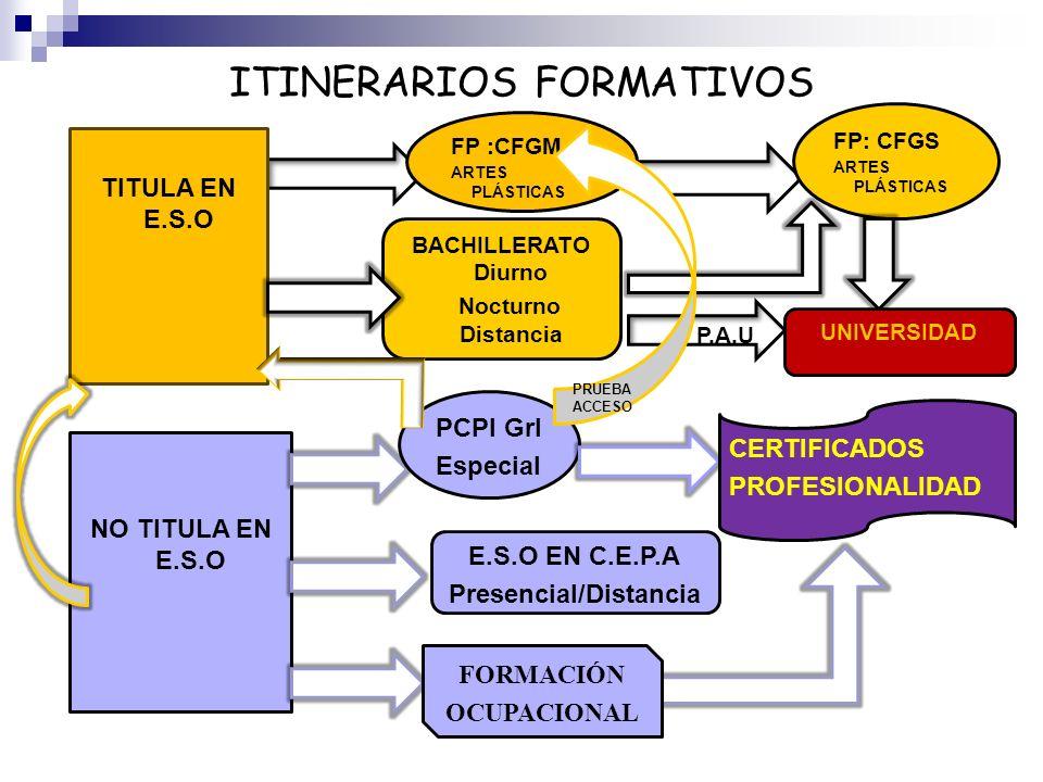 ITINERARIOS FORMATIVOS TITULA EN E.S.O FP :CFGM ARTES PLÁSTICAS FP: CFGS ARTES PLÁSTICAS BACHILLERATO Diurno Nocturno Distancia P.A.U UNIVERSIDAD NO T