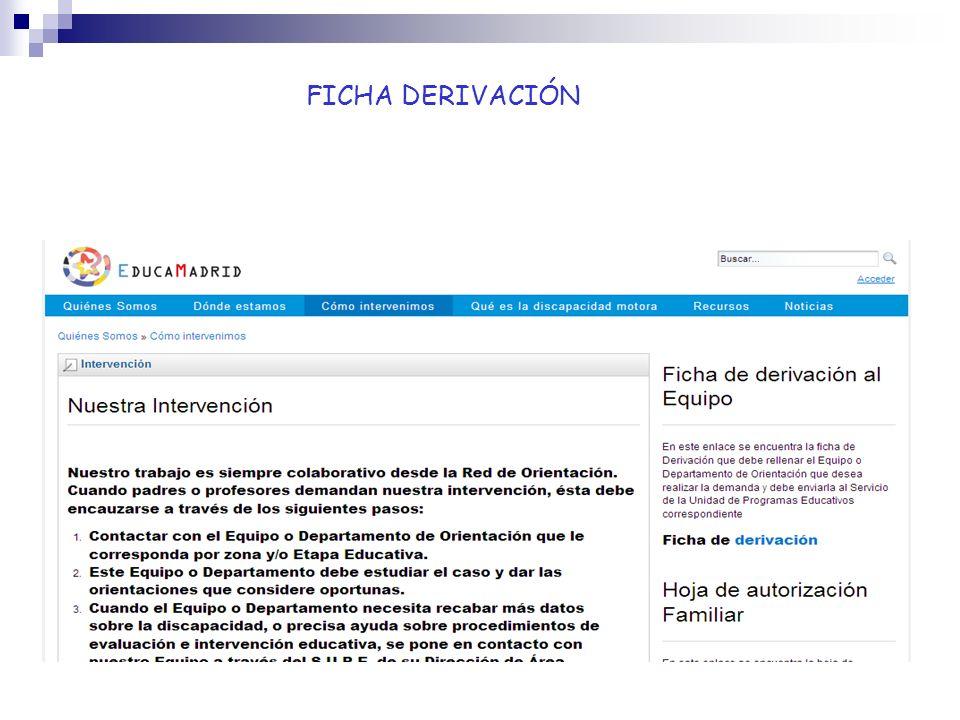 Webs de interés Portal de Formación Profesional MEC: http://todofp.es/ http://todofp.es/ Área atención discapacidad UAM: http://www.uam.eshttp://www.uam.es Oficina Integración personas con discapacidad : ( Universidad Complutense ) http://www.ucm.es/ http://www.ucm.es/ UNED discapacidad: http://www.uned.es/unidishttp://www.uned.es/unidis Portal de la dependencia: http://www.dependencia.imserso.es http://www.dependencia.imserso.es Servicio información sobre discapacidad: http://sid.usal.es http://sid.usal.es Comité Español de Representantes de personas con discapacidad: http://www.cermi-eshttp://www.cermi-es Observatorio Estatal Discapacidad: http://www.observatoriodeladiscapacidad.es/ http://www.observatoriodeladiscapacidad.es/ EOEP Específico Discapacidad Motora http://www.educa2.madrid.org/web/eoep.discapacidadmotora.madrid http://www.educa2.madrid.org/web/eoep.discapacidadmotora.madrid