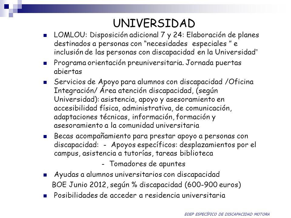 UNIVERSIDAD LOMLOU: Disposición adicional 7 y 24: Elaboración de planes destinados a personas con necesidades especiales e inclusión de las personas c