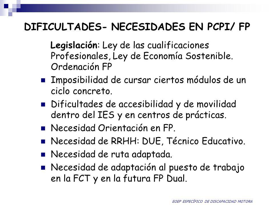 DIFICULTADES- NECESIDADES EN PCPI/ FP Legislación: Ley de las cualificaciones Profesionales, Ley de Economía Sostenible. Ordenación FP Imposibilidad d