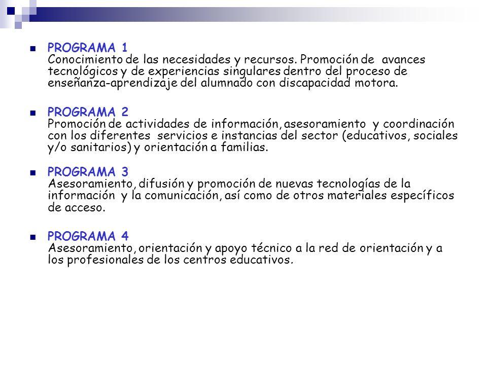 PROGRAMA 1 Conocimiento de las necesidades y recursos. Promoción de avances tecnológicos y de experiencias singulares dentro del proceso de enseñanza-