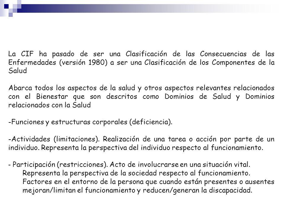 La CIF ha pasado de ser una Clasificación de las Consecuencias de las Enfermedades (versión 1980) a ser una Clasificación de los Componentes de la Sal