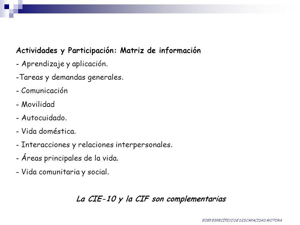 Actividades y Participación: Matriz de información - Aprendizaje y aplicación. -Tareas y demandas generales. - Comunicación - Movilidad - Autocuidado.
