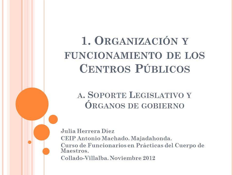 A.SOPORTE LEGISLATIVO - LOE TITULO V : Participación, autonomía y gobierno de los centros.