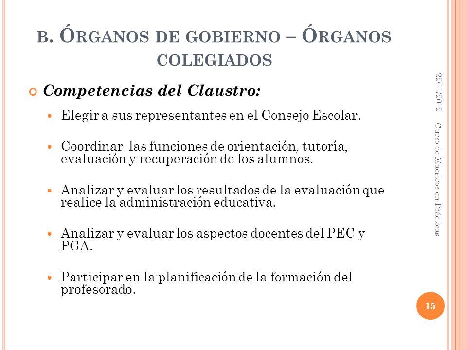 B. Ó RGANOS DE GOBIERNO – Ó RGANOS COLEGIADOS Competencias del Claustro: Elegir a sus representantes en el Consejo Escolar. Coordinar las funciones de