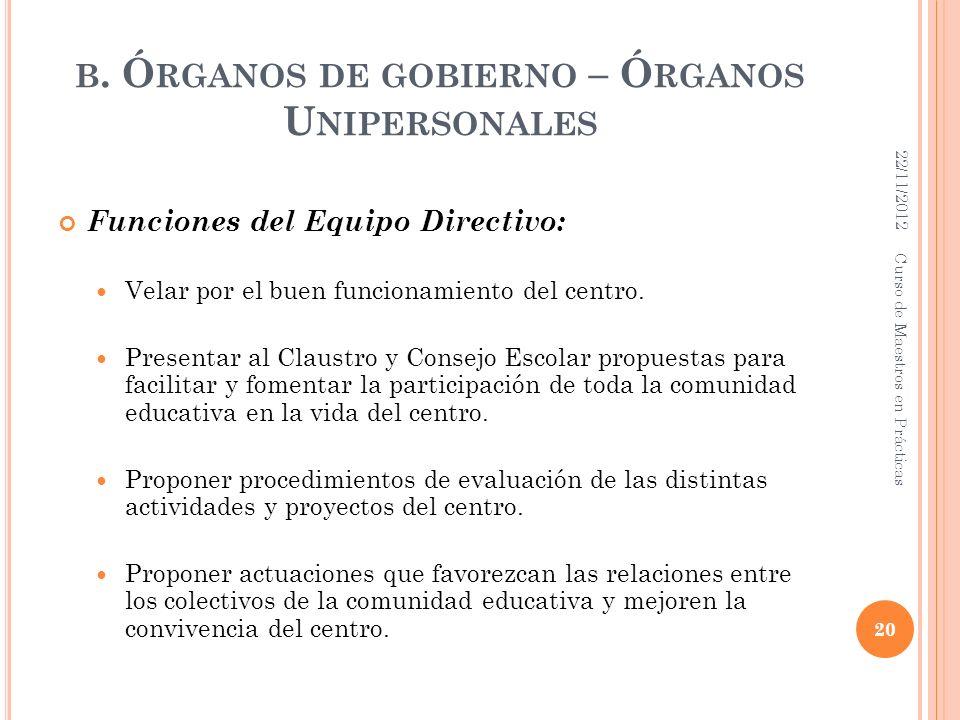 B. Ó RGANOS DE GOBIERNO – Ó RGANOS U NIPERSONALES Funciones del Equipo Directivo: Velar por el buen funcionamiento del centro. Presentar al Claustro y