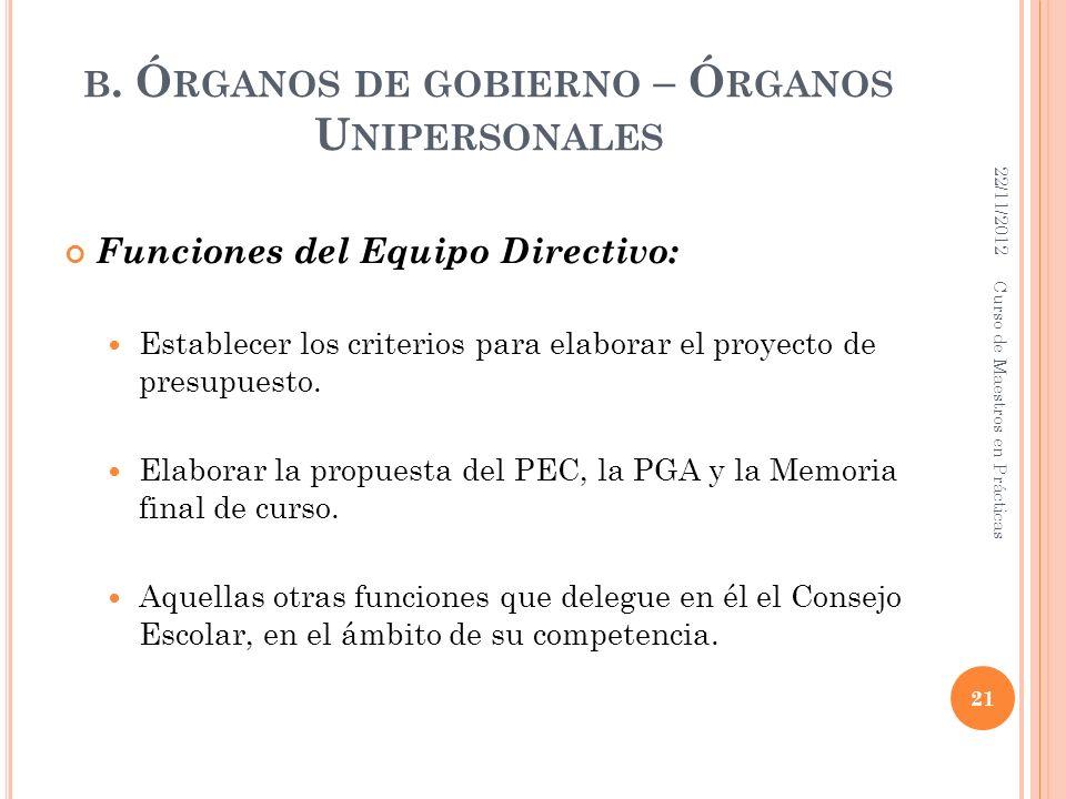 B. Ó RGANOS DE GOBIERNO – Ó RGANOS U NIPERSONALES Funciones del Equipo Directivo: Establecer los criterios para elaborar el proyecto de presupuesto. E