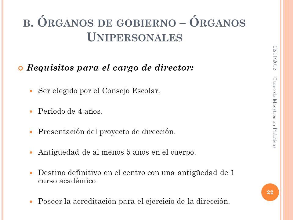 B. Ó RGANOS DE GOBIERNO – Ó RGANOS U NIPERSONALES Requisitos para el cargo de director: Ser elegido por el Consejo Escolar. Período de 4 años. Present