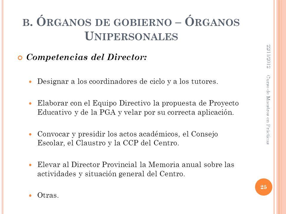 B. Ó RGANOS DE GOBIERNO – Ó RGANOS U NIPERSONALES Competencias del Director: Designar a los coordinadores de ciclo y a los tutores. Elaborar con el Eq