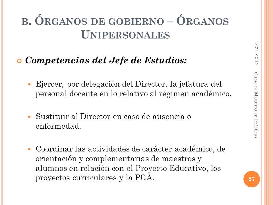 B. Ó RGANOS DE GOBIERNO – Ó RGANOS U NIPERSONALES Competencias del Jefe de Estudios: Ejercer, por delegación del Director, la jefatura del personal do