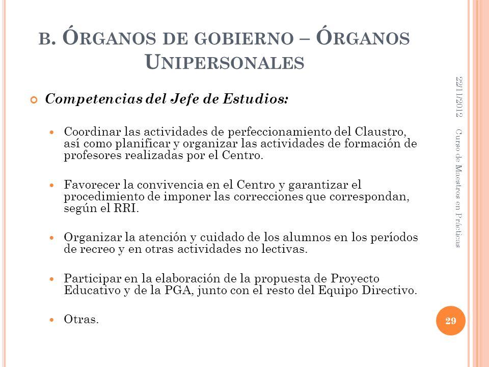 B. Ó RGANOS DE GOBIERNO – Ó RGANOS U NIPERSONALES Competencias del Jefe de Estudios: Coordinar las actividades de perfeccionamiento del Claustro, así